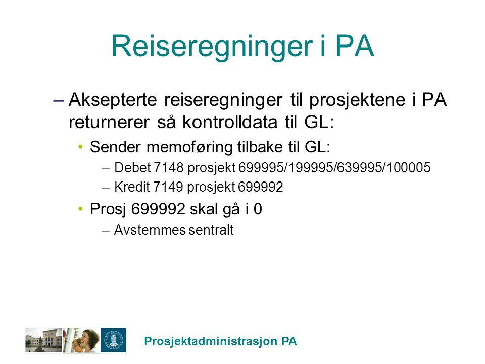 Reiseregninger i PA Aksepterte reiseregninger til prosjektene i PA returnerer så kontrolldata til GL: