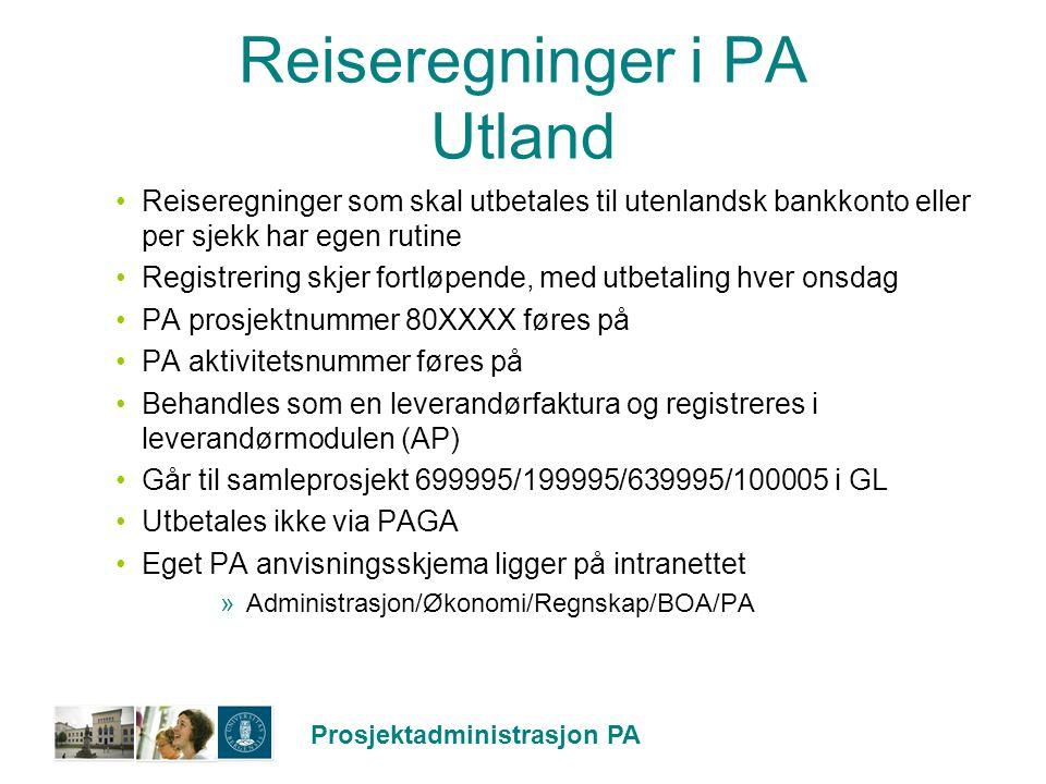 Reiseregninger i PA Utland