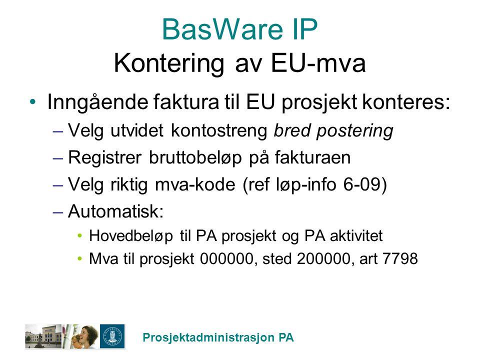 BasWare IP Kontering av EU-mva