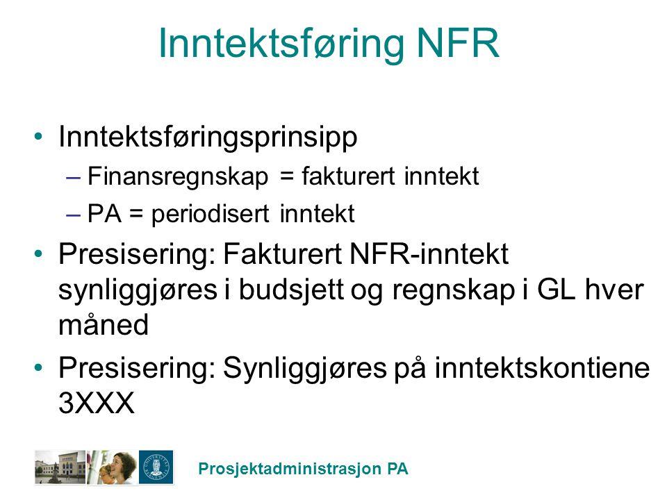 Inntektsføring NFR Inntektsføringsprinsipp