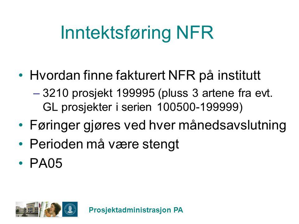 Inntektsføring NFR Hvordan finne fakturert NFR på institutt