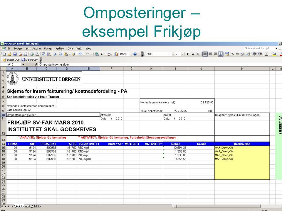 Omposteringer – eksempel Frikjøp