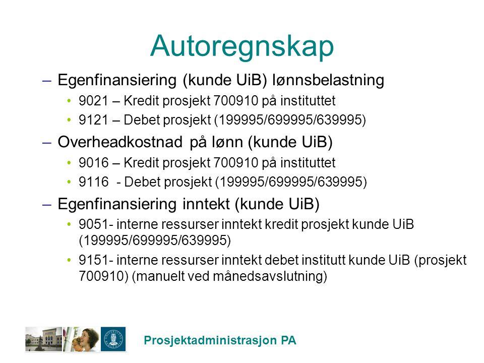 Autoregnskap Egenfinansiering (kunde UiB) lønnsbelastning