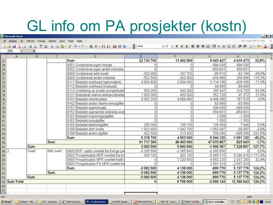 GL info om PA prosjekter (kostn)