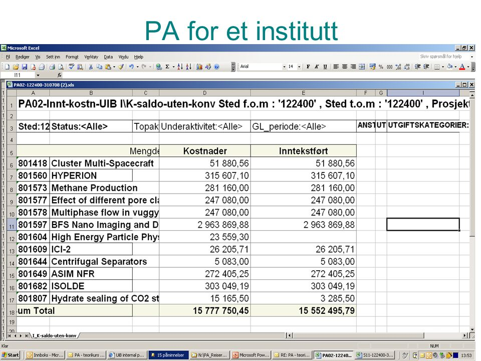 PA for et institutt