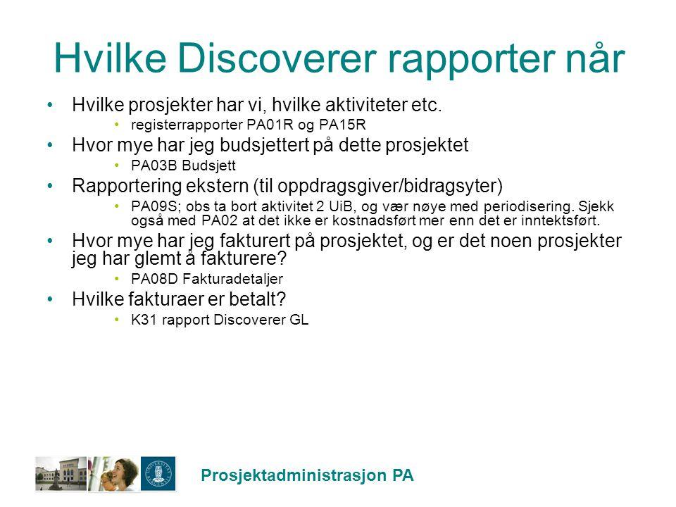 Hvilke Discoverer rapporter når