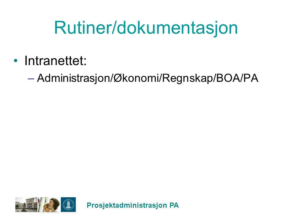 Rutiner/dokumentasjon