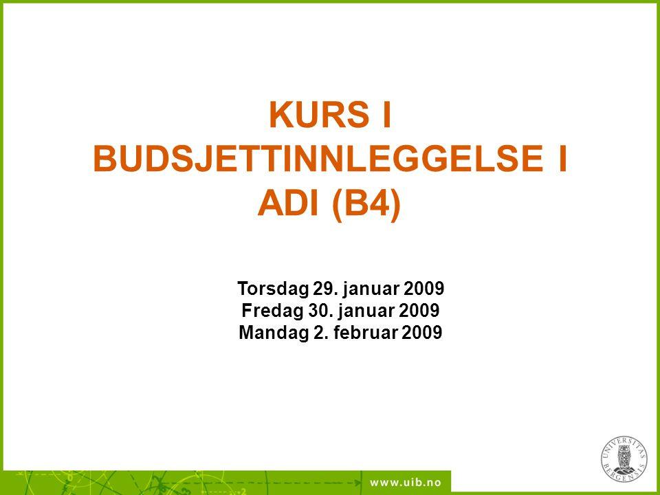 KURS I BUDSJETTINNLEGGELSE I ADI (B4)
