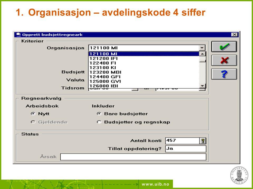 Organisasjon – avdelingskode 4 siffer