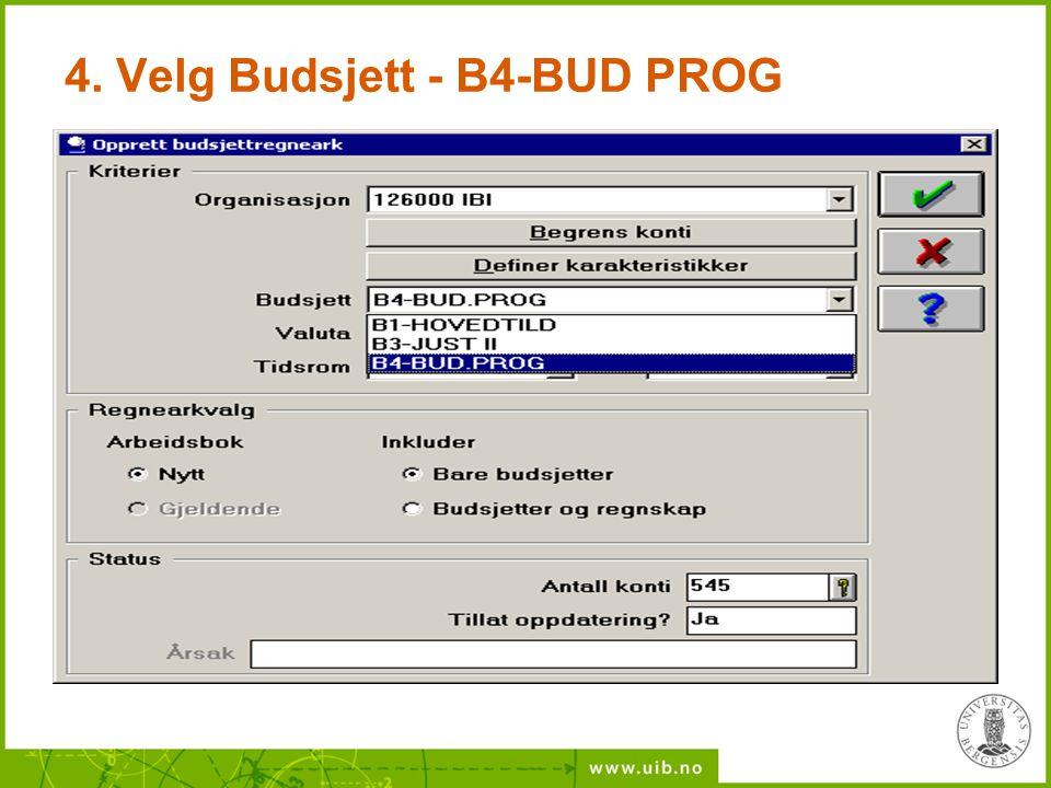 4. Velg Budsjett - B4-BUD PROG