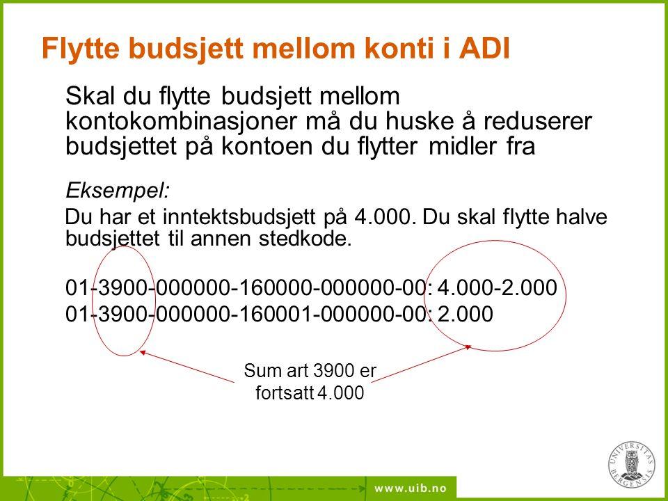 Flytte budsjett mellom konti i ADI