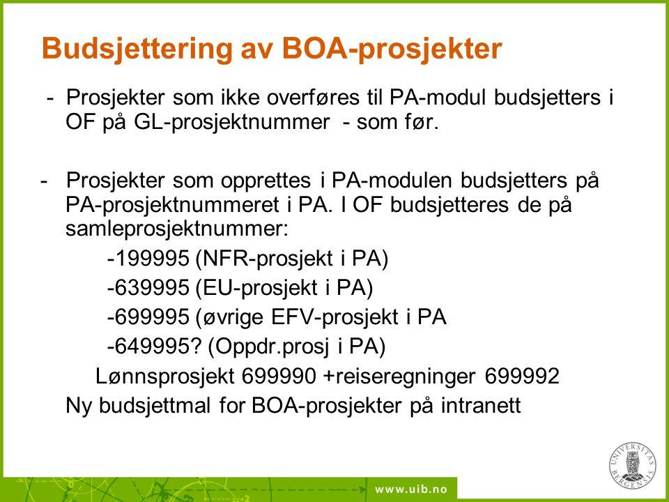 Budsjettering av BOA-prosjekter