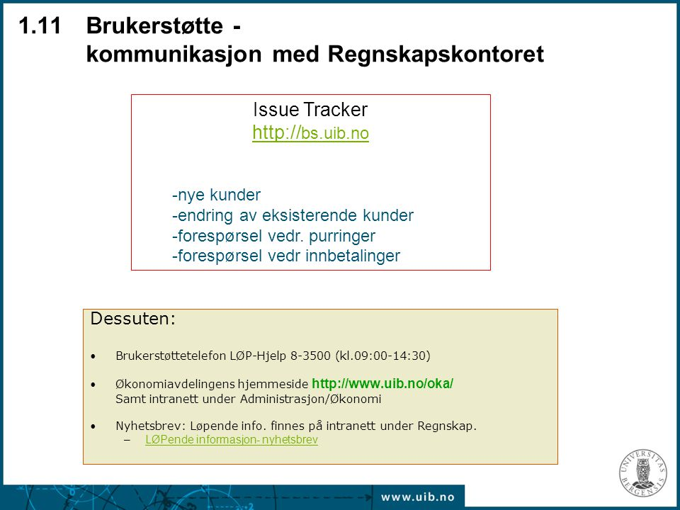 1.11 Brukerstøtte - kommunikasjon med Regnskapskontoret