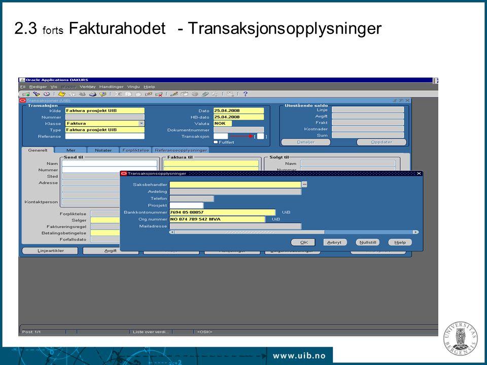 2.3 forts Fakturahodet - Transaksjonsopplysninger