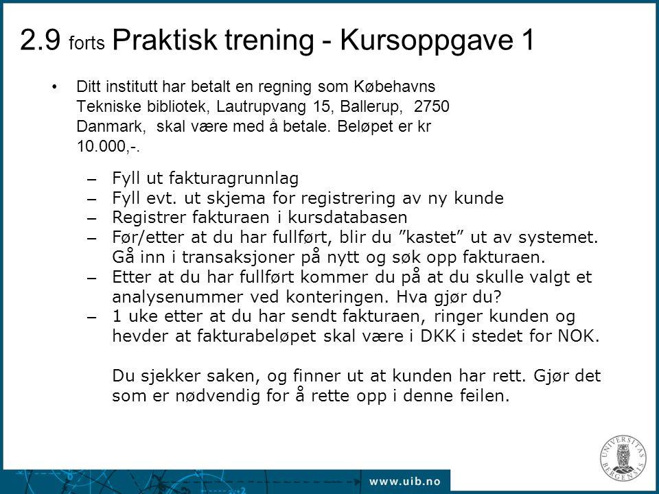 2.9 forts Praktisk trening - Kursoppgave 1
