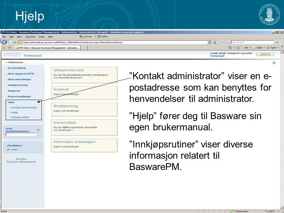 Hjelp Kontakt administrator viser en e-postadresse som kan benyttes for henvendelser til administrator.