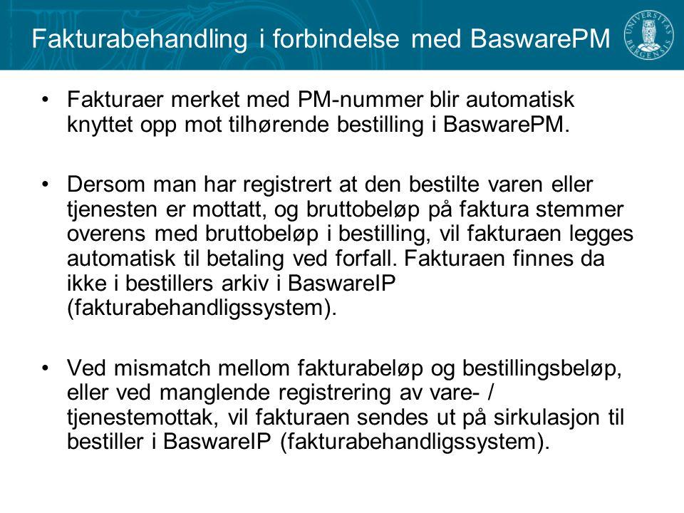Fakturabehandling i forbindelse med BaswarePM