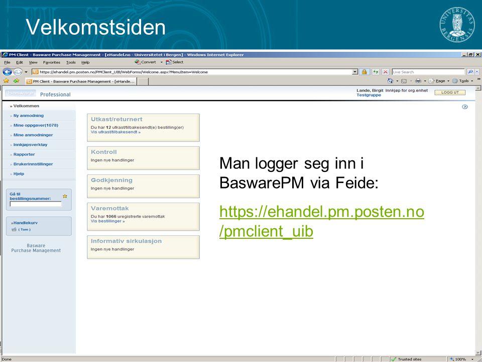 Velkomstsiden Man logger seg inn i BaswarePM via Feide: