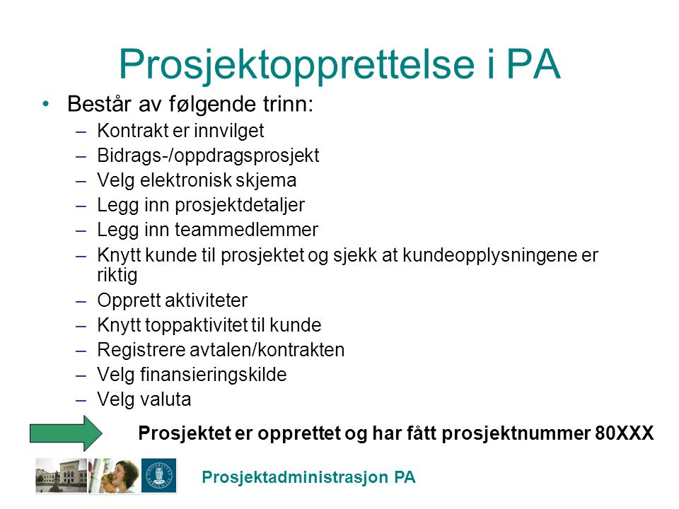 Prosjektopprettelse i PA