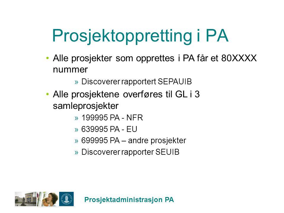 Prosjektoppretting i PA