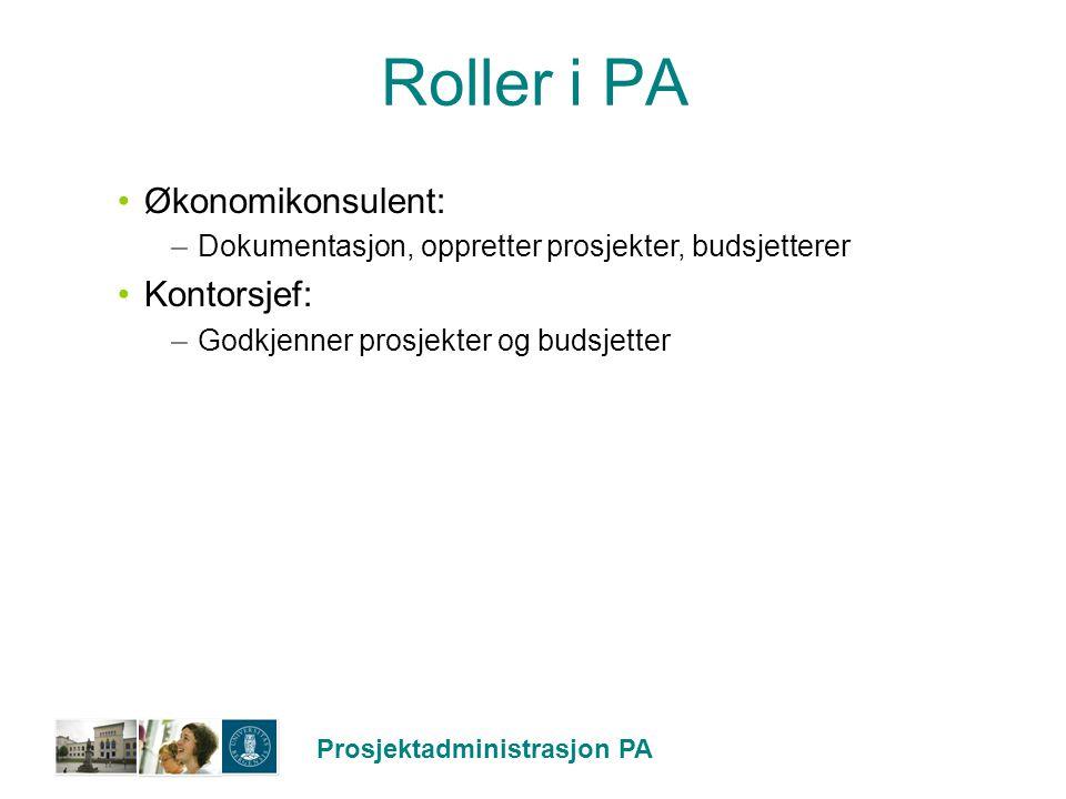 Roller i PA Økonomikonsulent: Kontorsjef: