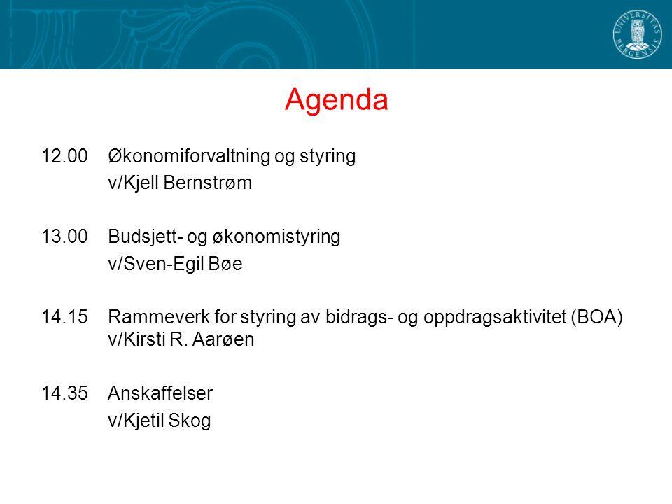 Agenda 12.00 Økonomiforvaltning og styring v/Kjell Bernstrøm