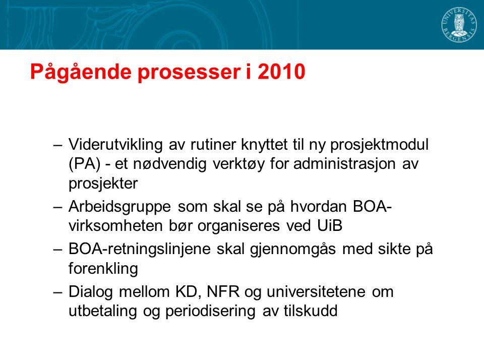 Pågående prosesser i 2010 Viderutvikling av rutiner knyttet til ny prosjektmodul (PA) - et nødvendig verktøy for administrasjon av prosjekter.