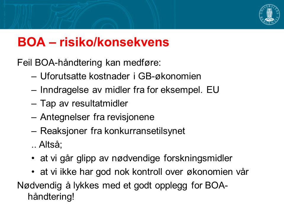 BOA – risiko/konsekvens