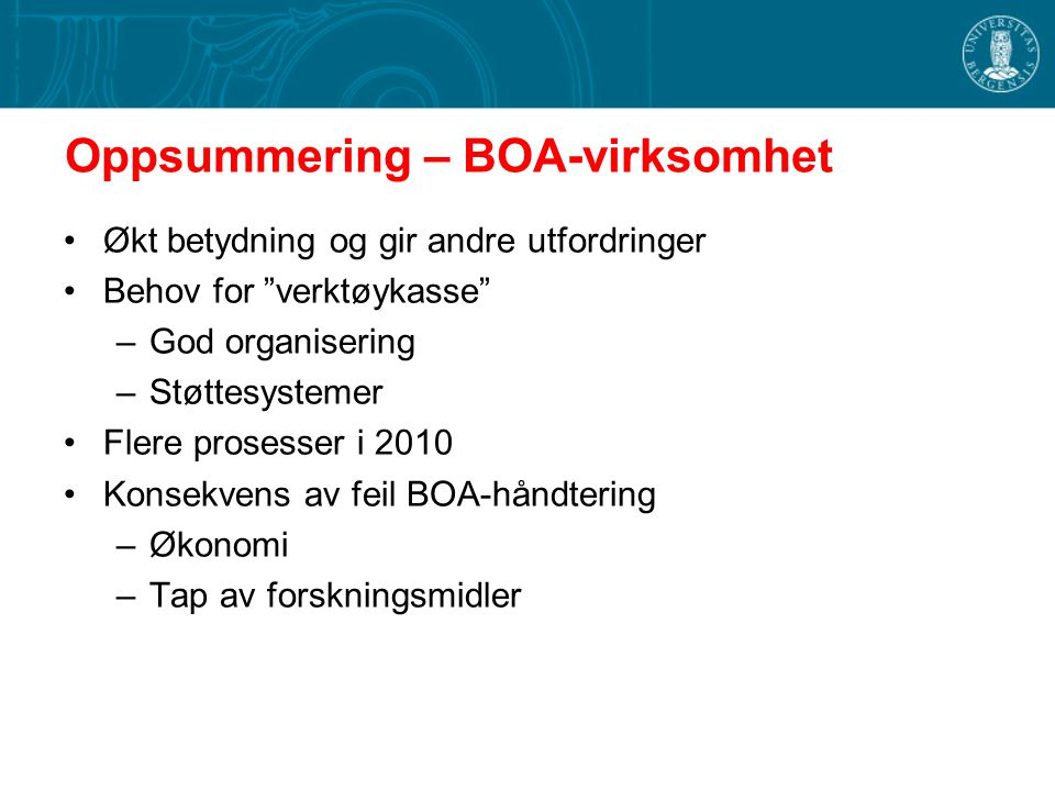 Oppsummering – BOA-virksomhet