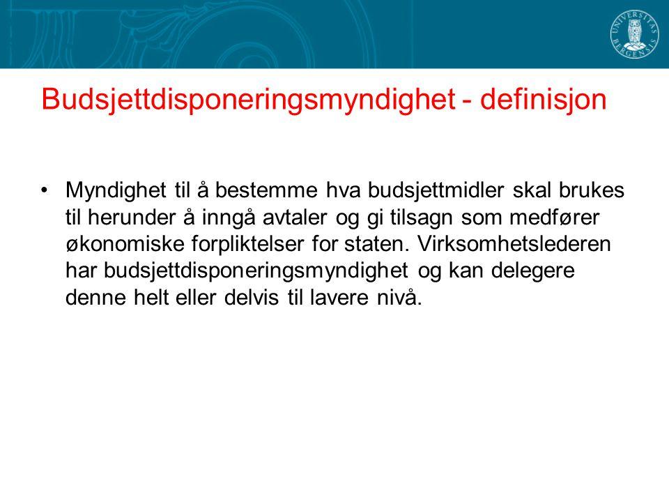 Budsjettdisponeringsmyndighet - definisjon