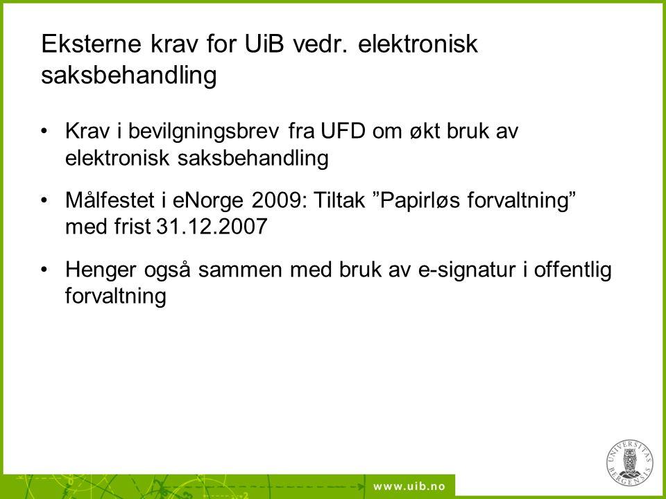 Eksterne krav for UiB vedr. elektronisk saksbehandling