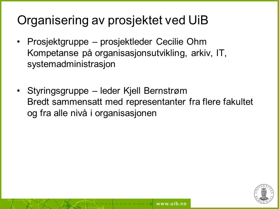 Organisering av prosjektet ved UiB