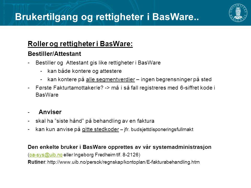 Brukertilgang og rettigheter i BasWare..