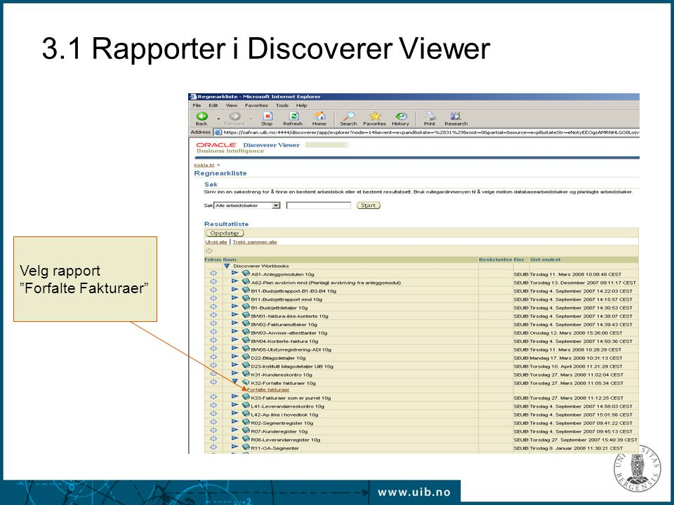 3.1 Rapporter i Discoverer Viewer