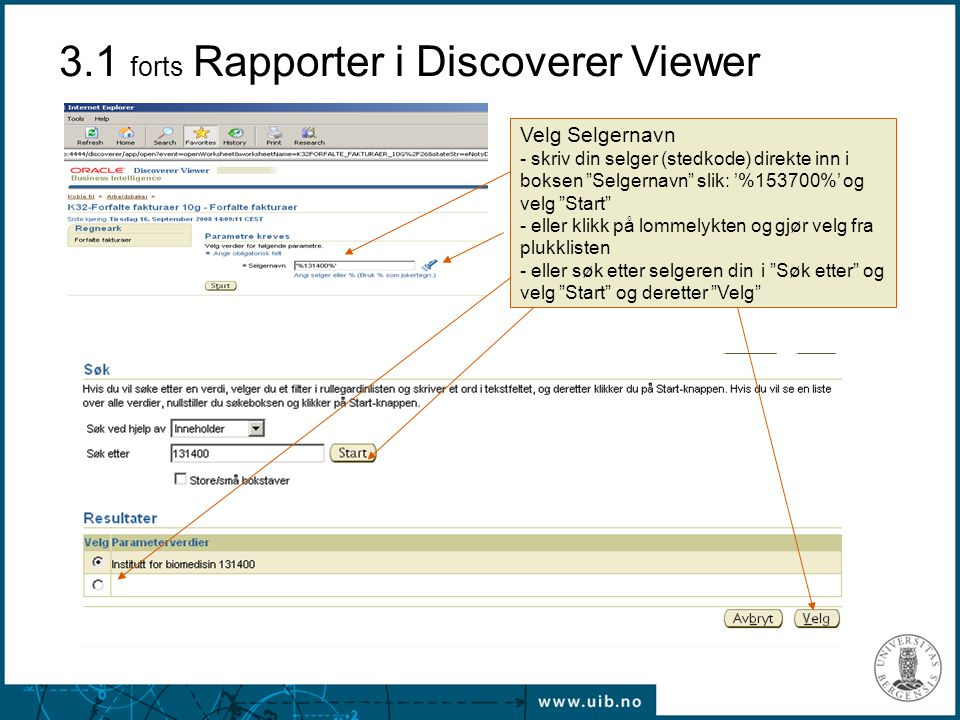 3.1 forts Rapporter i Discoverer Viewer