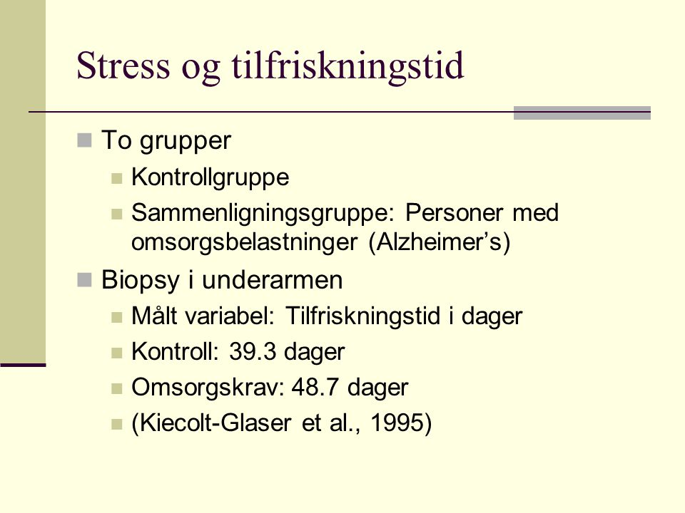 Stress og tilfriskningstid