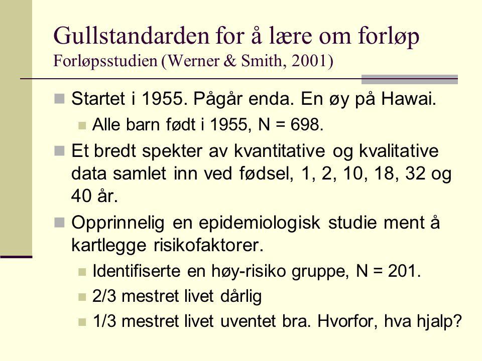 Gullstandarden for å lære om forløp Forløpsstudien (Werner & Smith, 2001)