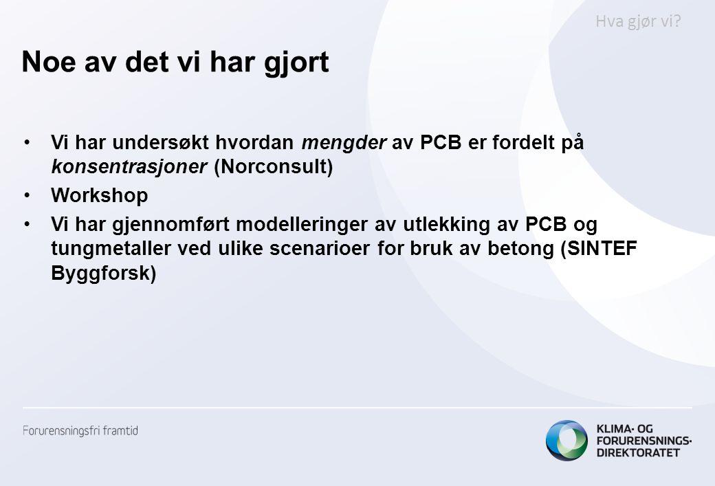Noe av det vi har gjort Hva gjør vi Vi har undersøkt hvordan mengder av PCB er fordelt på konsentrasjoner (Norconsult)