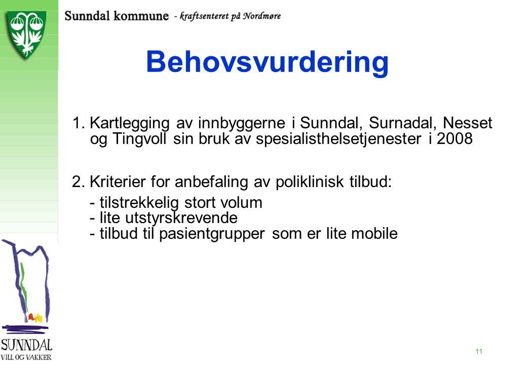 2.11.99 Behovsvurdering. 1. Kartlegging av innbyggerne i Sunndal, Surnadal, Nesset og Tingvoll sin bruk av spesialisthelsetjenester i 2008.