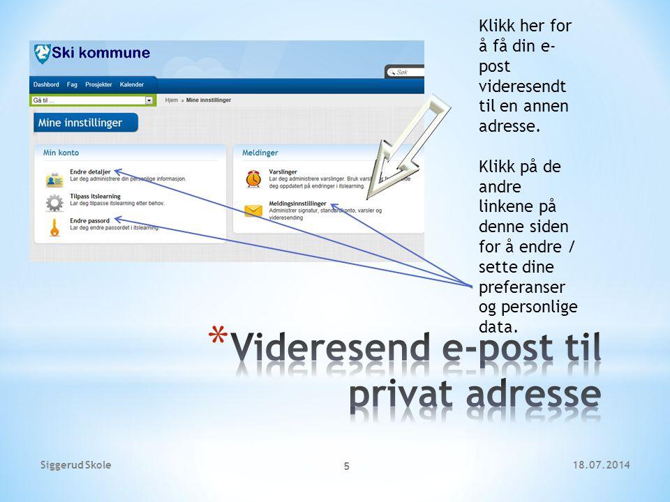 Videresend e-post til privat adresse