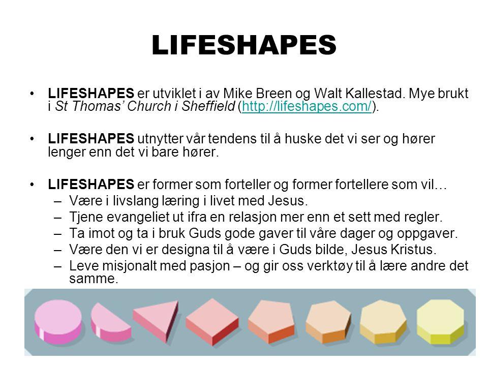 LIFESHAPES LIFESHAPES er utviklet i av Mike Breen og Walt Kallestad. Mye brukt i St Thomas' Church i Sheffield (http://lifeshapes.com/).