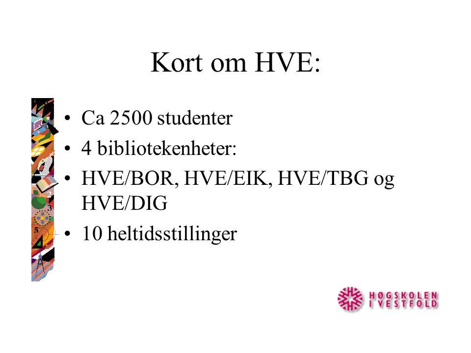 Kort om HVE: Ca 2500 studenter 4 bibliotekenheter: