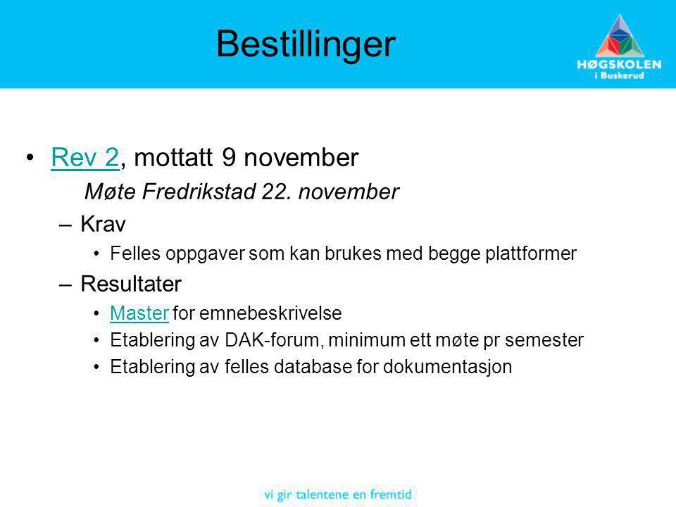 Bestillinger Rev 2, mottatt 9 november Møte Fredrikstad 22. november