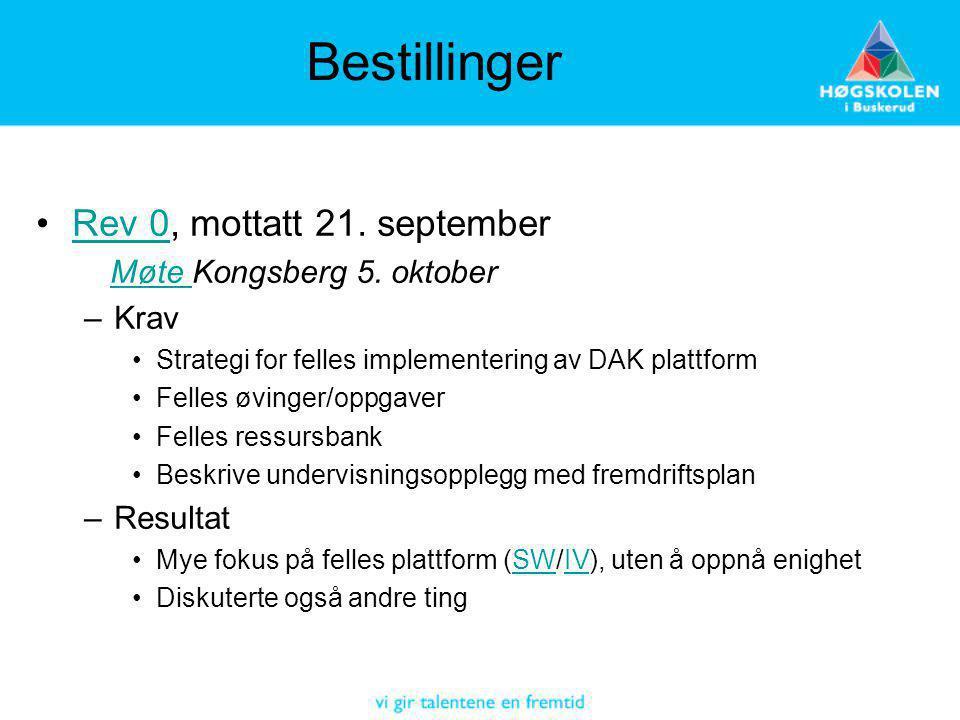 Bestillinger Rev 0, mottatt 21. september Møte Kongsberg 5. oktober