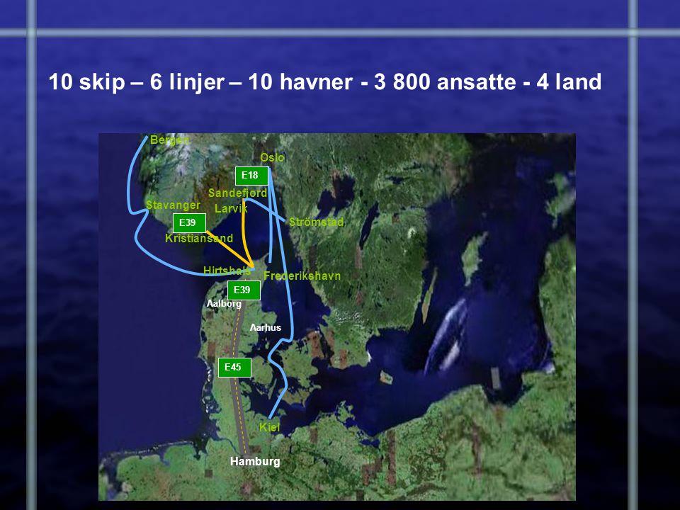 10 skip – 6 linjer – 10 havner - 3 800 ansatte - 4 land