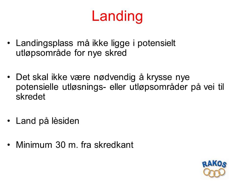 Landing Landingsplass må ikke ligge i potensielt utløpsområde for nye skred.