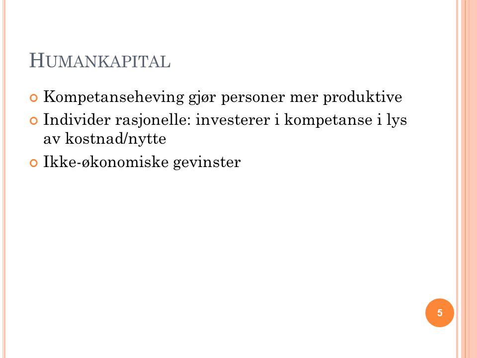 Humankapital Kompetanseheving gjør personer mer produktive