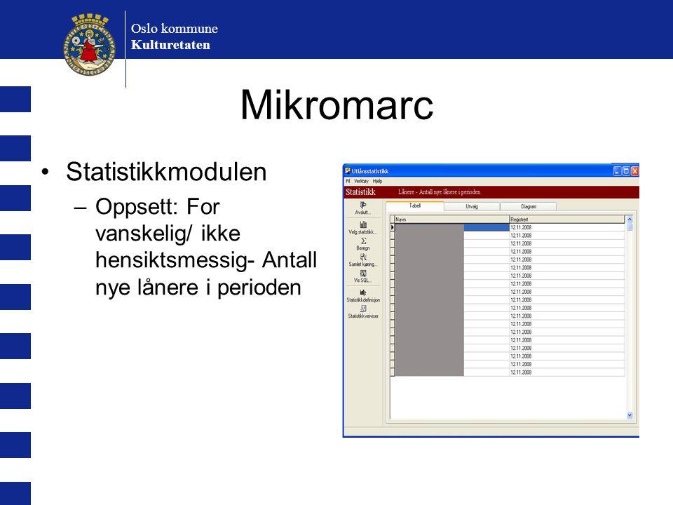 Mikromarc Statistikkmodulen