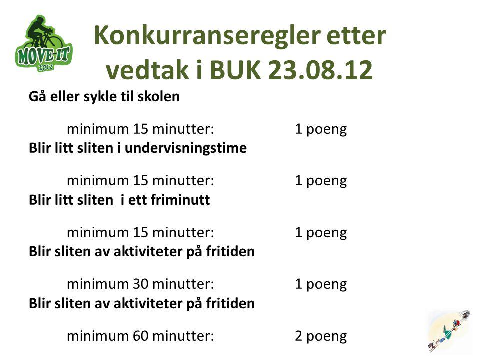 Konkurranseregler etter vedtak i BUK 23.08.12