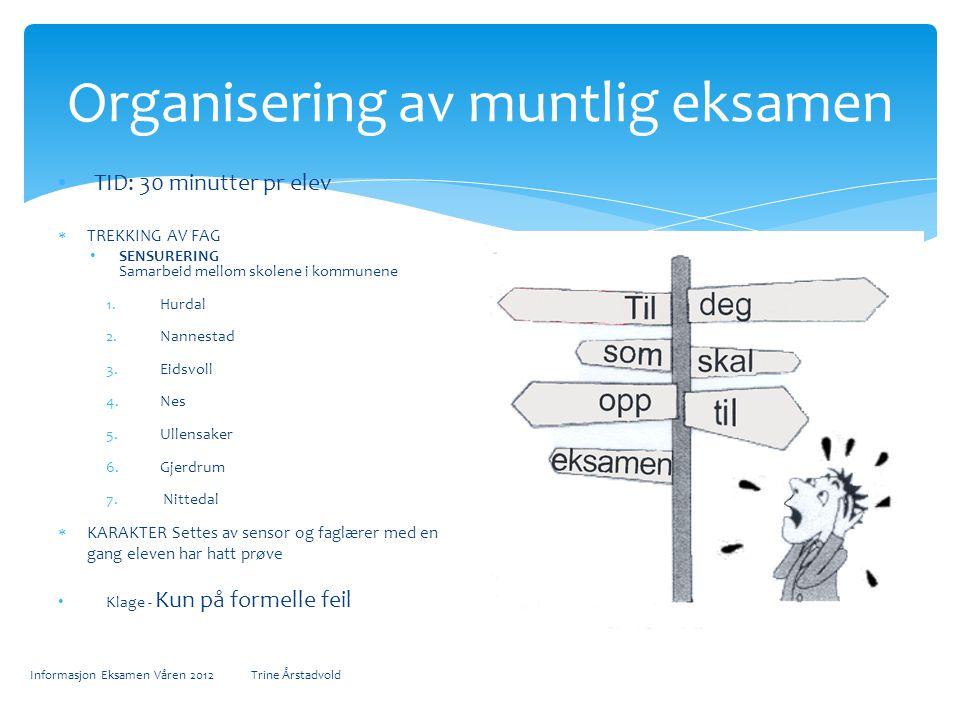 Organisering av muntlig eksamen